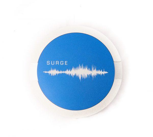 Surge Can Sliver Blue Lid
